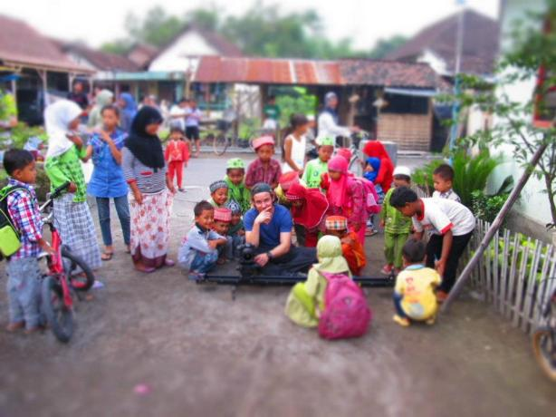Cinematographer Peter Mychalcewycz at work in Java, Indonesia.